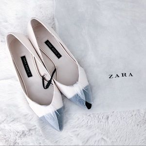 ZARA Pointed Mid-heel Court Shoes